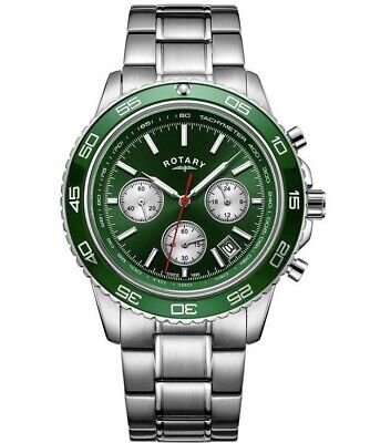 Rotary Mens Green Dial Chronograph Bracelet Watch Gents GB03067/24 • 85.49£
