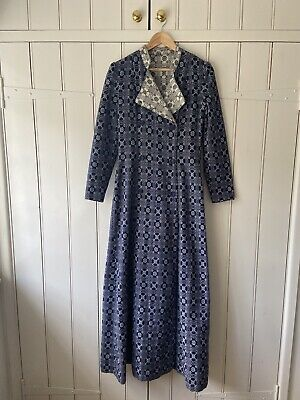 Vintage Retro 70s Welsh Wool Blanket Tapestry Fitted Coat / Dress Size 8-10 • 60£