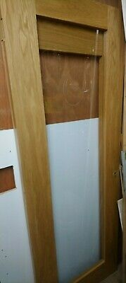 Pair Of Wooden Interior Doors | Wood Pattern | Glass Panel • 125£