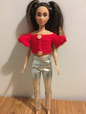 £3.50 • Buy *Petite* New Dolls Clothes For Petite Barbie Handmade Top And Silver Leggings