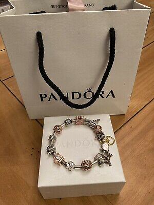 "Genuine Sterling Silver 19"" Charm Braclet With 15 Charms • 25£"