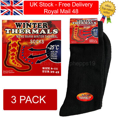 3 Pairs Mens Black Warm Thermal Socks Winter Outdoor Work Thick Heavy Duty • 4.99£