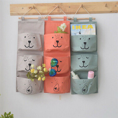 £3.75 • Buy 3 Pockets Wall Hanging Storage Bag Closet Door Toy Cosmetic Organizer Pouch Talk