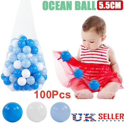 100pcs Ball Pit Balls Play Kids Plastic Baby Ocean Soft Toy Colourful Playpen • 11.25£