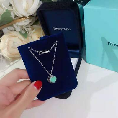 Tiffany & Co. Blue Enamel Mini Double Heart Necklace-18 Inch With Gift Box • 39.99£