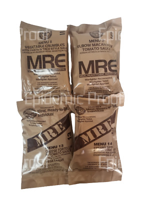 $36.99 • Buy 4 Vegetarian MREs Sampler Pack [2022 Inspection Year] AUTHENTIC US MILITARY MEAL