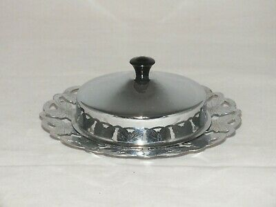 Vintage Silver Plated Lidded Butter Dish Pierced Butterfly Design • 11.99£