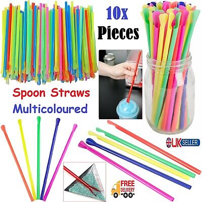 10pcs Spoon Straws Birthday BBQ Drinking Hygienic Milkshake Smoothie Mix Colours • 1.89£