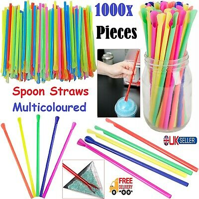 1000pcs SPOON STRAWS Milkshake Smoothie Drinks Cocktail Slush Puppie Party Straw • 23.99£
