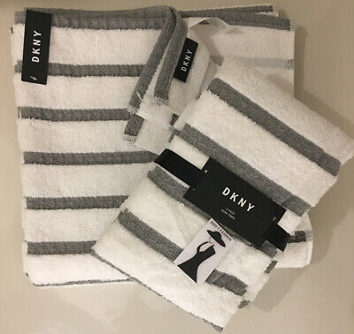 SET Of 3 DKNY White & Grey Stripe COTTON Towels Bath AND Hand Towel IDEAL GIFT  • 29.95£