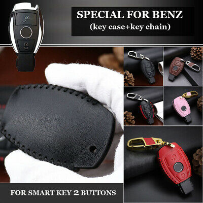 Leather 2-Button Remote Key Holder Fob Case Cover For Mercedes Benz Car Parts • 6.17£