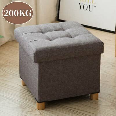 Folding Foot Rest Stool Storage Space Box Chair Cube Footstool Pouf Bench 4 Legs • 18.99£
