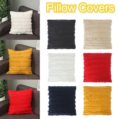 Boho Cotton Linen Tassel Pillow Case Pillow Covers Striped Sofa Cushion Covers • 3.99£