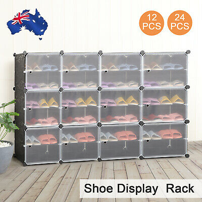 AU18.99 • Buy Clear Door Cube DIY Shoe Cabinet Rack Storage Portable Stackable Organiser