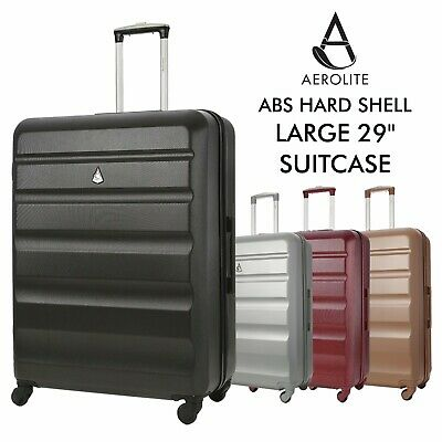 Aerolite Large 29  4 Wheel ABS Hard Shell Checked Check In Hold Lugagge Suitcase • 39.99£