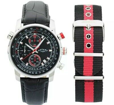 Rotary Men's Chronograph Black Leather/Canvas Strap Watch Gents GS03641/04/KIT • 58.49£