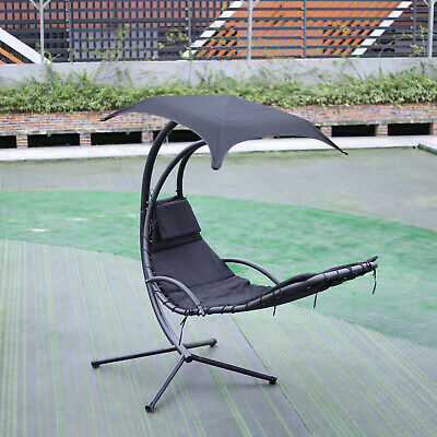 Heavy Duty Patio Garden Hanging Swing Chair Hammock Metal Frame Stand W/ Cushion • 226.74£