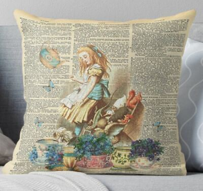 Vintage Alice In Wonderland Linen Cushion Cover 18x18 Inch • 7.50£