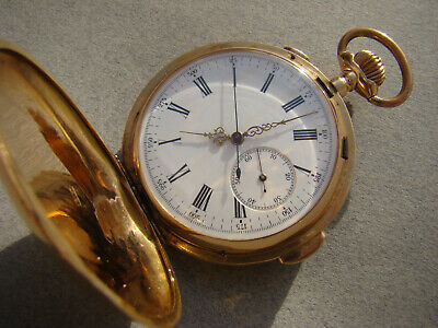 Antique Solid 18k Gold Full Hunter Minute Repeater Chronograph Pocket Watch 1900 • 4,973.85£
