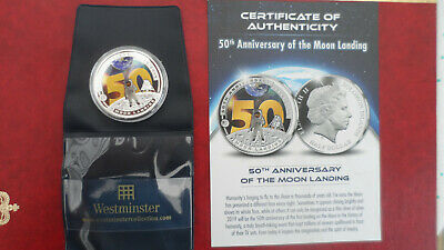 NASA  -  Apollo 11 50th Anniv. Moon Landing Silver Plated Coin With Certificate • 18£
