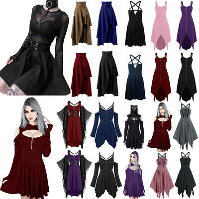 AU32.01 • Buy Womens Gothic Punk Cosplay Short Dress Retro Lady Cosplay Party Fancy Dresses