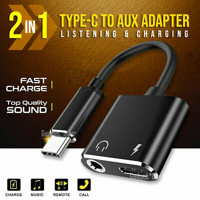 AU6.99 • Buy 2in1 USB Type C To 3.5mm Headphone Jack Adapter AUX & Sync Data Charger Splitter
