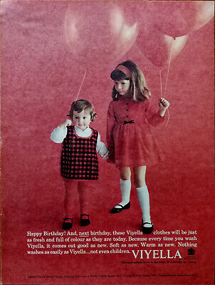 Viyella Fabric Happy Birthday And Next Birthday Vintage Advertisement 1964 • 5.99£