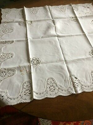 Antique/Vintage Square White Linen Tablecloth With Lace Edge/Coloured Embroidery • 15£