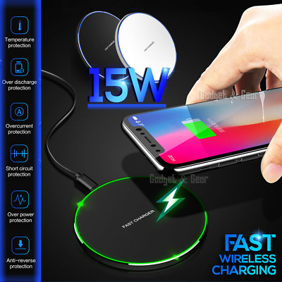 AU13.99 • Buy 15W/10W Qi Fast Charging Wireless Charger Pad Mat For IPhone Samsung Google Oppo