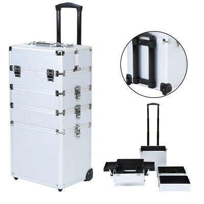 $98.29 • Buy 4 In1 Aluminum Professional Rolling Makeup Trolley Case Box Organizer Cosmetic