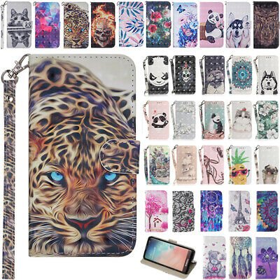 AU14.88 • Buy For Samsung S20FE S9 S10+ J8 J5 Pro Patterned Leather Wallet Flip Case Cover