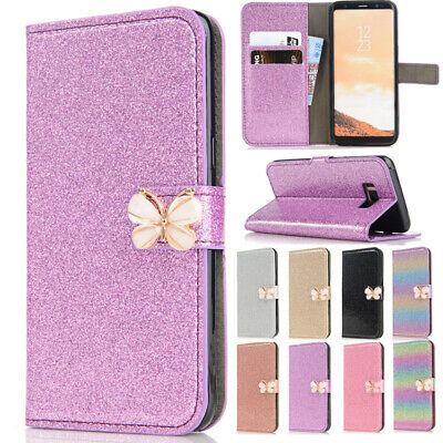 AU15.19 • Buy  For Samsung S5 S8/Note8 Bling Butterfly Magnetic Card Wallet Stand Case Cover