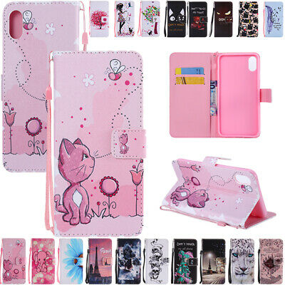 AU14.88 • Buy For IPhone XS Max 6s 7 8 Plus Pattern Flip Leather Strap Wallet Case Stand Cover