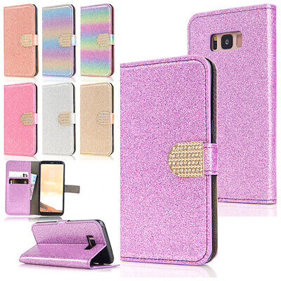 AU14.89 • Buy Bling Diamond Wallet Leather Flip Stand Card Slots Case Cover For Samsung Phones