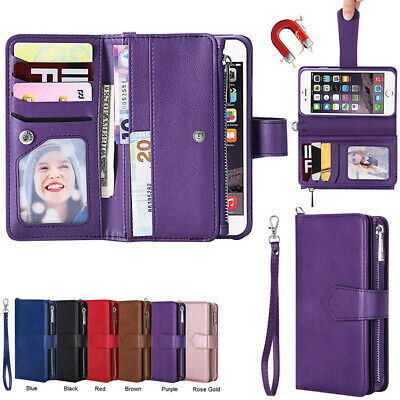 AU21.68 • Buy For IPhone 11 12Pro XR 6 7 8 Removable Magnetic Leather Zipper Wallet Case Cover