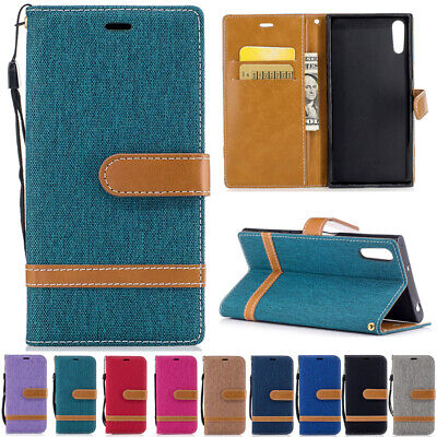 AU14.68 • Buy For Sony Xperia XZ XZ1 XA1 Magnetic Flip Leather Denim Wallet Card Case Cover