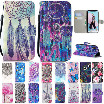 AU14.89 • Buy For IPhone 12 Pro Max XR 7 8+ 11 Painted Magnetic Leather Card Wallet Case Cover