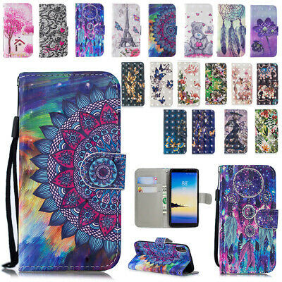 AU14.89 • Buy For Samsung Galaxy Phones Patterned Magnetic Card Slots Flip Case Stand Cover