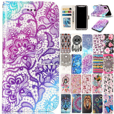 AU14.89 • Buy For IPhone 11 12 Pro Max XR 8+ Painted Leather Flip Stand Card Wallet Case Cover