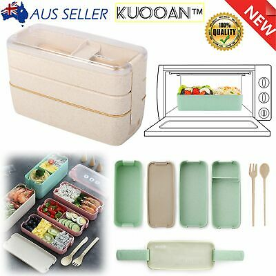 AU12.99 • Buy 3 Compartments Lunch Box Bento Wheat Straw Microwave 1100ml Food Container