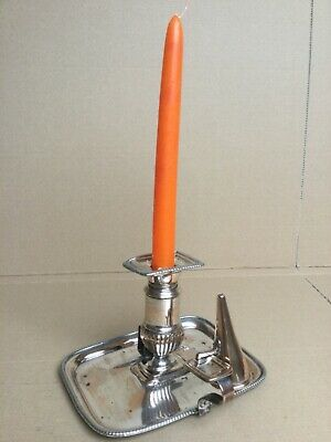 Antique Georgian Silver Plate Chamber Stick Candle Holder With Snuffer  • 28£