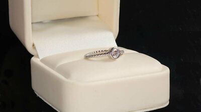 925 Silver Solitaire Ring,Thin Twisted Band,minimal Stacking Dainty Cz Eternity • 10.25£