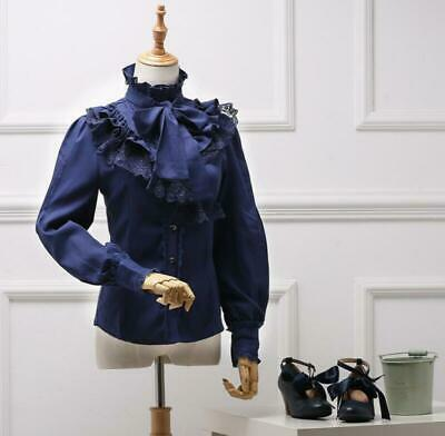 Womens Lolita Victorian Lace Tops Shirts Sweet Bowknot Stand Collar Blouse Ting1 • 36.83£