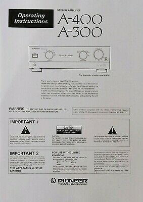 £6.99 • Buy Pioneer A-400 / A-300 - Stereo Amplifier - Operating Instructions - USER MANUAL