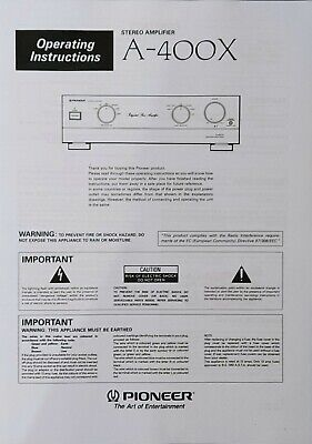 £5.99 • Buy Pioneer A-400X - Stereo Amplifier - Operating Instructions - USER MANUAL