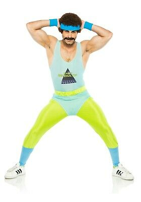 AU62.29 • Buy Adult Men's 80's Workout Gym Instructor Costume SIZE S/M  (with Defect)