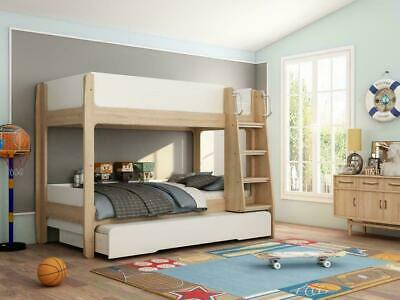 White & Oak Finish Bunk Bed With Under Bed Trundle Or Storage Option Kids Adult • 499£