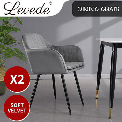AU139.99 • Buy Levede 2x Dining Chairs Kitchen Steel Chair Velvet Removable Cushion Seat Covers
