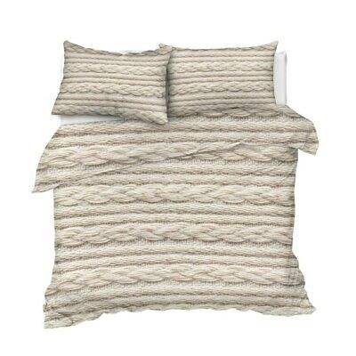 AU180.53 • Buy 3D Beige Knit Knitted Crochet King Queen Twin Quilt Duvet Pillow Cover Bed Set