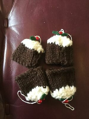 Christmas Pudding Knitted Chocolate Holder Decorations Set Of 4 New • 3£